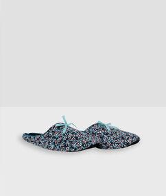 Pantoffels met print blauw.