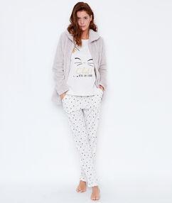 Pyjama 3 pièces chat, pantalon imprimé et veste toucher polaire beige.
