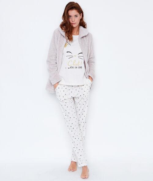 Pyjama 3 pièces chat, pantalon imprimé et veste toucher polaire