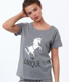 T-shirt imprimé licorne à message gris.