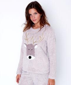 Pyjama 2 pièces toucher polaire beige.