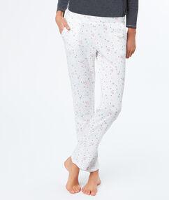 Pantalon imprimé pingouins blanc.