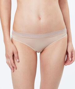 Slip microvezel en kant beige/ peau.