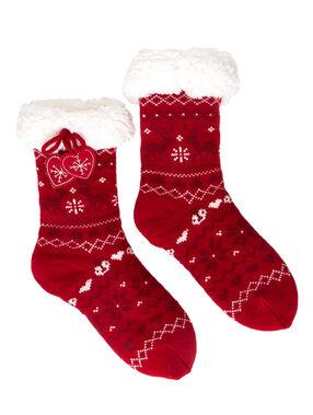 Chaussettes chaussons imprimés de noël rouge.