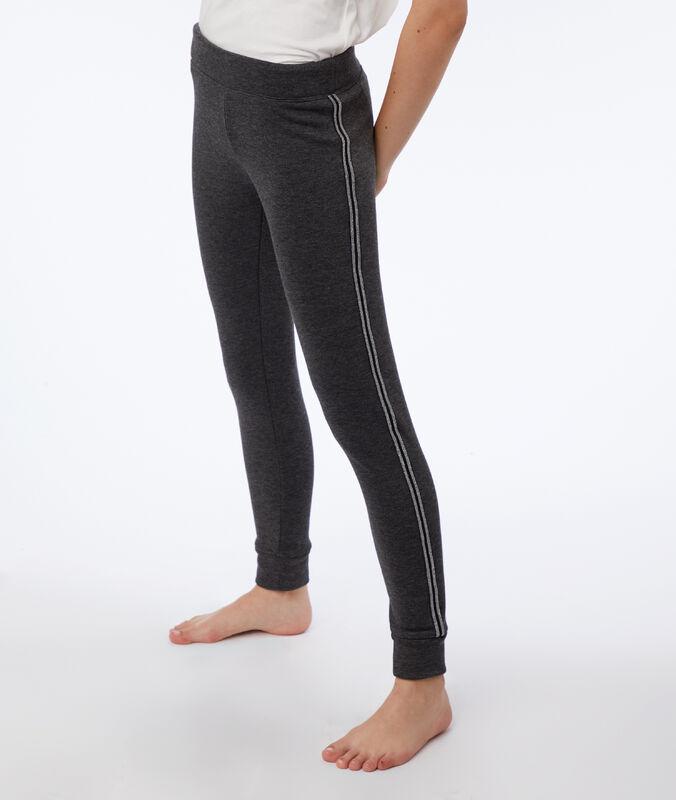 Pantalon à liseré métallisé anthracite.