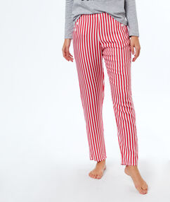 Pantalon gestreept rood.