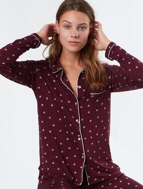 Chemise de pyjama fluide ultra douce bordeaux.