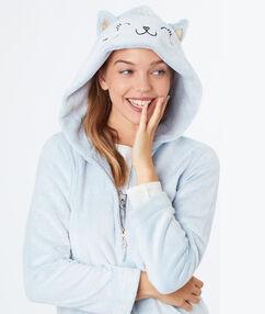 Veste doudou chat licorne bleu.