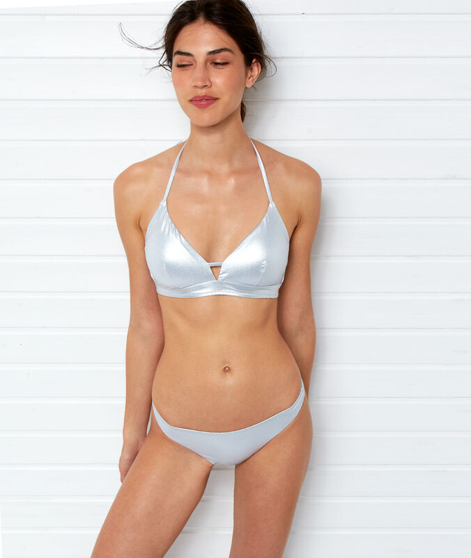 Bas de bikini simple irisé argente.