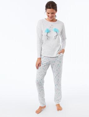 T-shirt détails fausse fourrure gris clair.