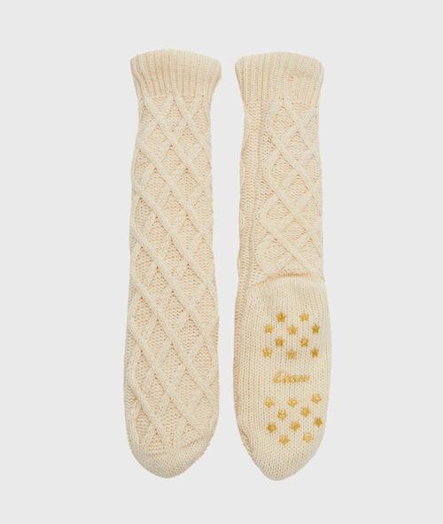 Chaussettes d'intérieur tricotées, doublées imitation fourrure