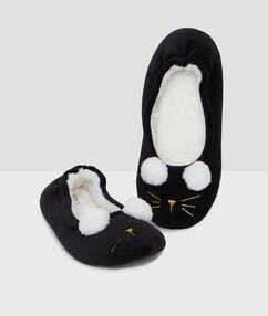 Mules chat 3d noir.