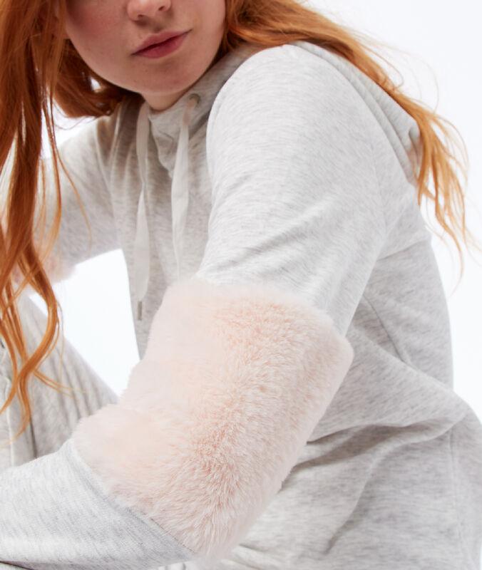 Sweat chiné à capuche empiècements fausse fourrure gris clair.