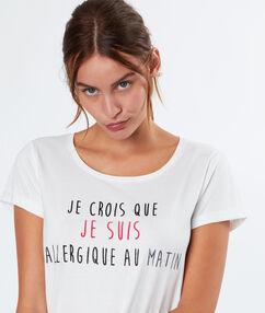 """T-shirt à message """"confidentielles"""" blanc."""