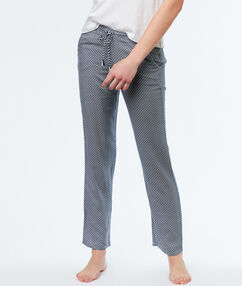 Pantalon microvezel met print blauw.