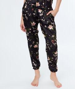 Pantalon satin imprimé fleuri noir.