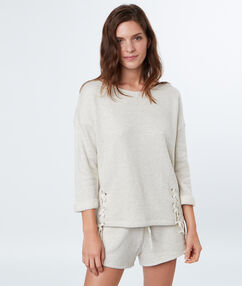 Sweat maille chiné beige.