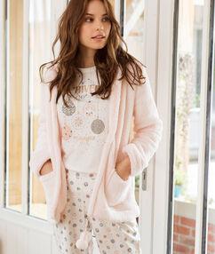 Pyjama 3 pièces à message rose.