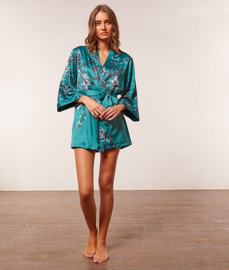Kimono satiné imprimé;${refinementColor}