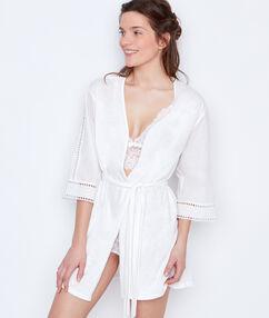 Déshabillé coton manches ajourées blanc.