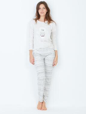 Pyjama 3 pièces, veste toucher polaire beige.