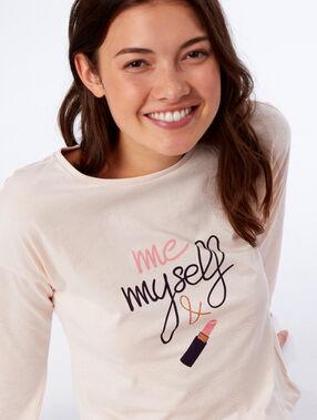T-shirt met strik en lange mouwen roze.
