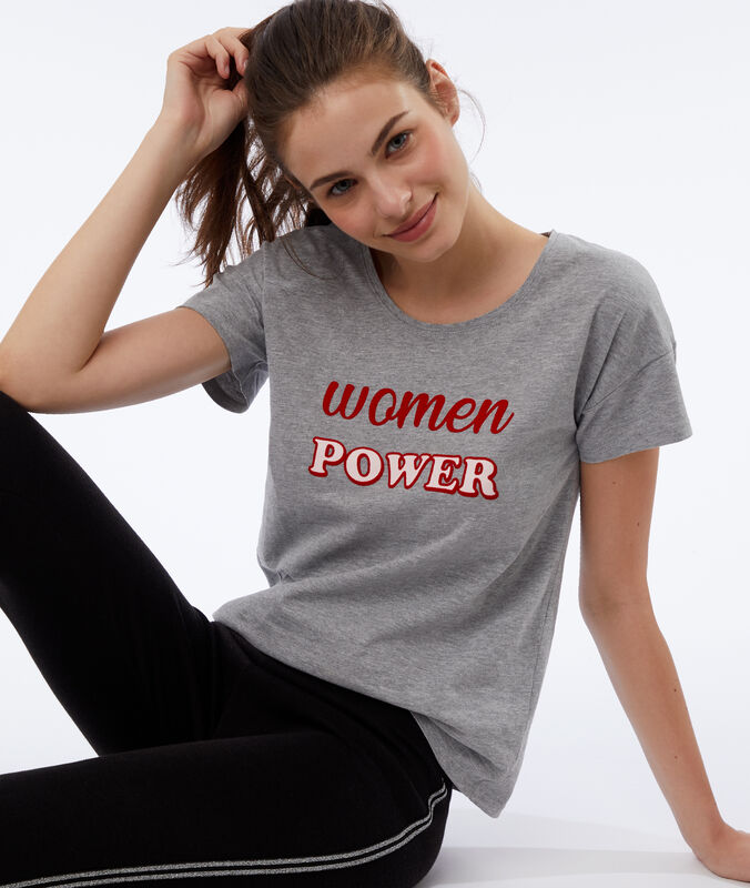 """T-shirt """"women power"""" gris."""