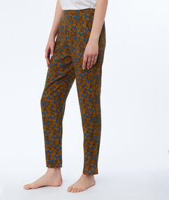 Pantalon imprimé ethnique bleu.