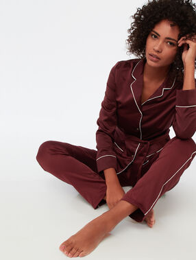 Pyjamahemd voor mannen, satijn bordeauxrood.