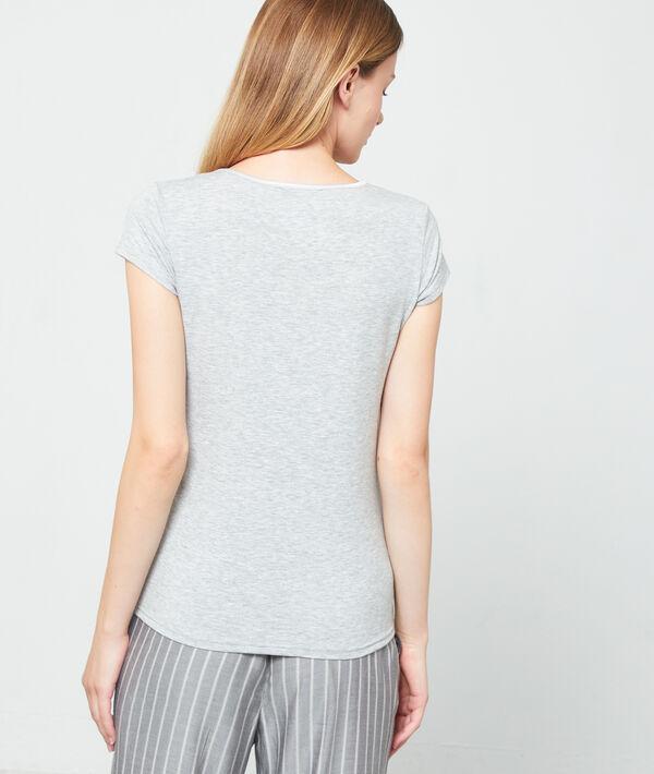 T-shirt decolleté in V gesatineerd;${refinementColor}