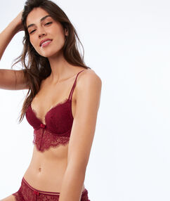 Soutien-gorge n°2 - push-up plongeant en dentelle, basque descendante bordeaux grenat.