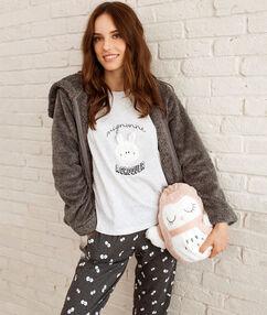 Pyjama 3 pièces imprimé gris.