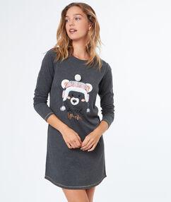 Nuisette ours imprimé gris.