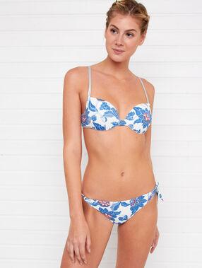 Bas de bikini brésilien - high leg imprime fond blanc.