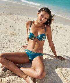 Bas de bikini simple imprime bleu vert.
