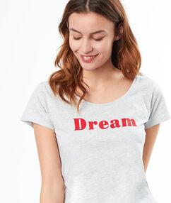 T-shirt à message velours gris.