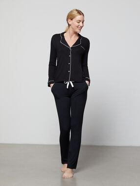 Pantalon vloeiend tweekleurig zwart.