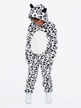 Combinaison pyjama dalmatien enfant ecru.