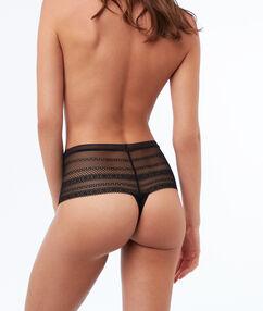 Tanga elastisch hoge taille zwart.