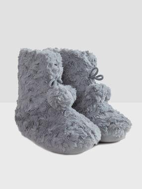 Chaussons bottines fourrés gris.