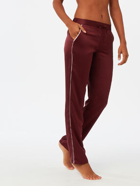 Pantalon met contrasterende band bordeauxrood.
