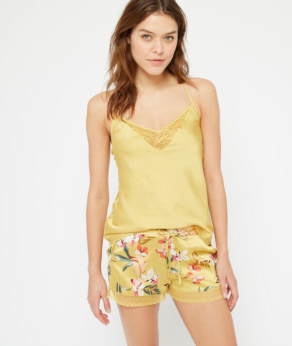 Gesatineerde shorts met bloemen;${refinementColor}