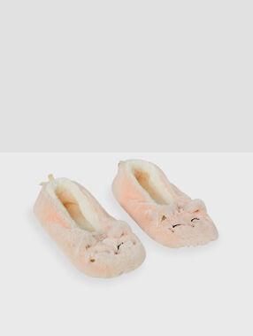 Chaussons fourrés à mini grelot rose.
