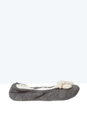 Ballerines chaussons fourrées, détail noeud gris.