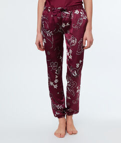 Pantalon satijn met print bordeaux.