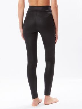 Legging effet cuir noir.