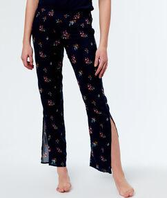 Pantalon met gebloemde print blauw.