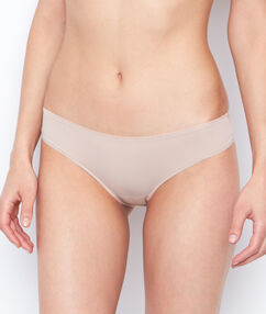 Shorty in microvezel en tule beige/ peau.