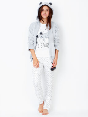 Pyjama 3 pièces imprimé, veste doudou ecru.