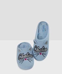 Chaussons imprimés chat bleu.